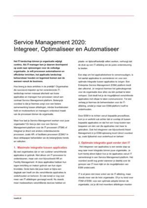 Service Management 2020: Integreer, Optimaliseer en Automatiseer