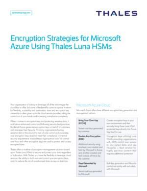 Encryptiestrategieën voor Microsoft Azure met Thales Luna HSM's